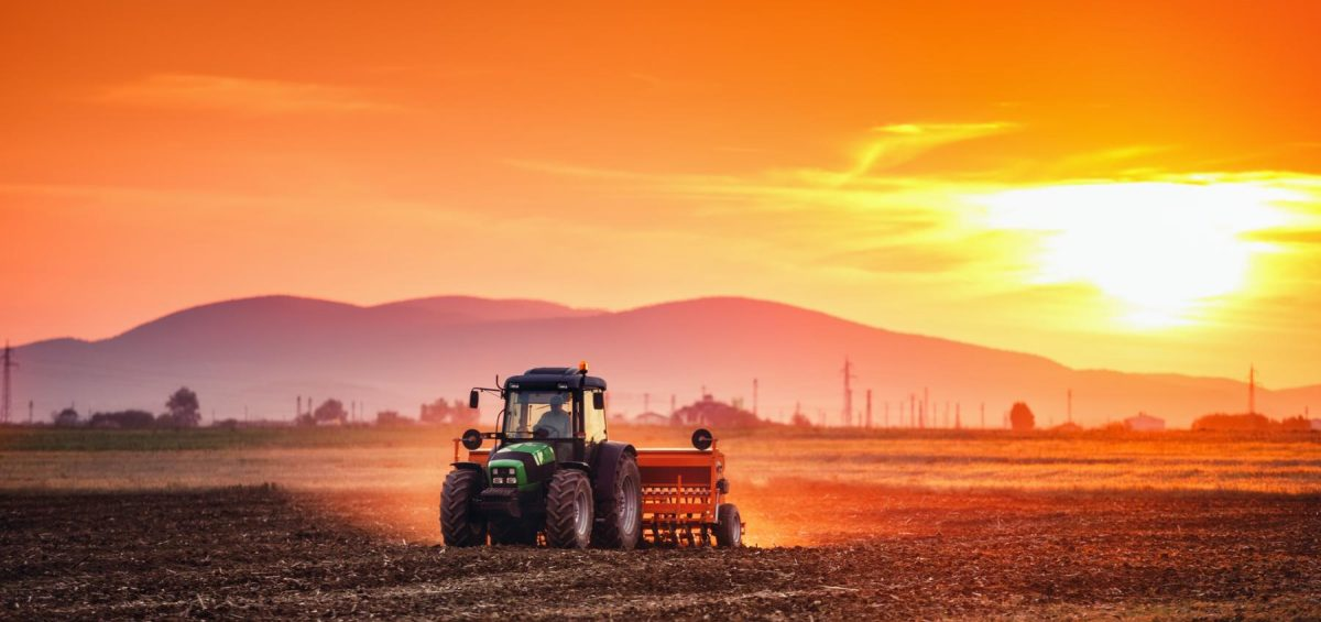 Beautiful sunset, farmer in tractor preparing land with seedbed