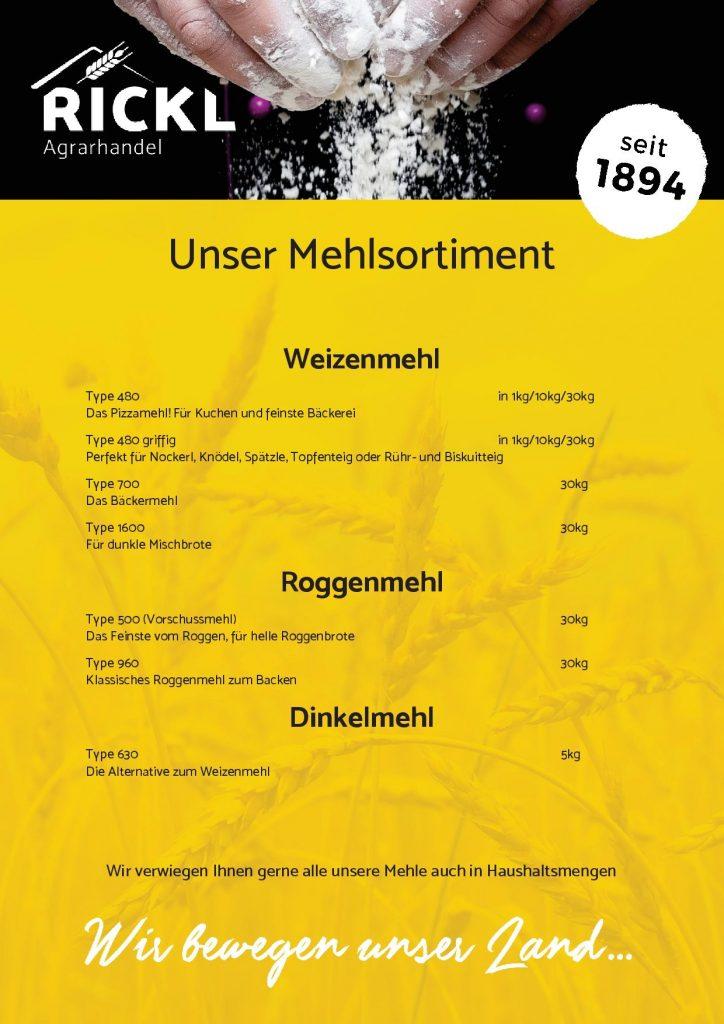 Weizenmehl, Roggenmehl, Dinkelmehl